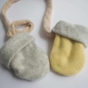Cashmere King Gloves – Grey Melange/Yellow