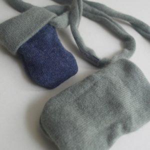 Cashmere King Gloves -Blue/Moss green